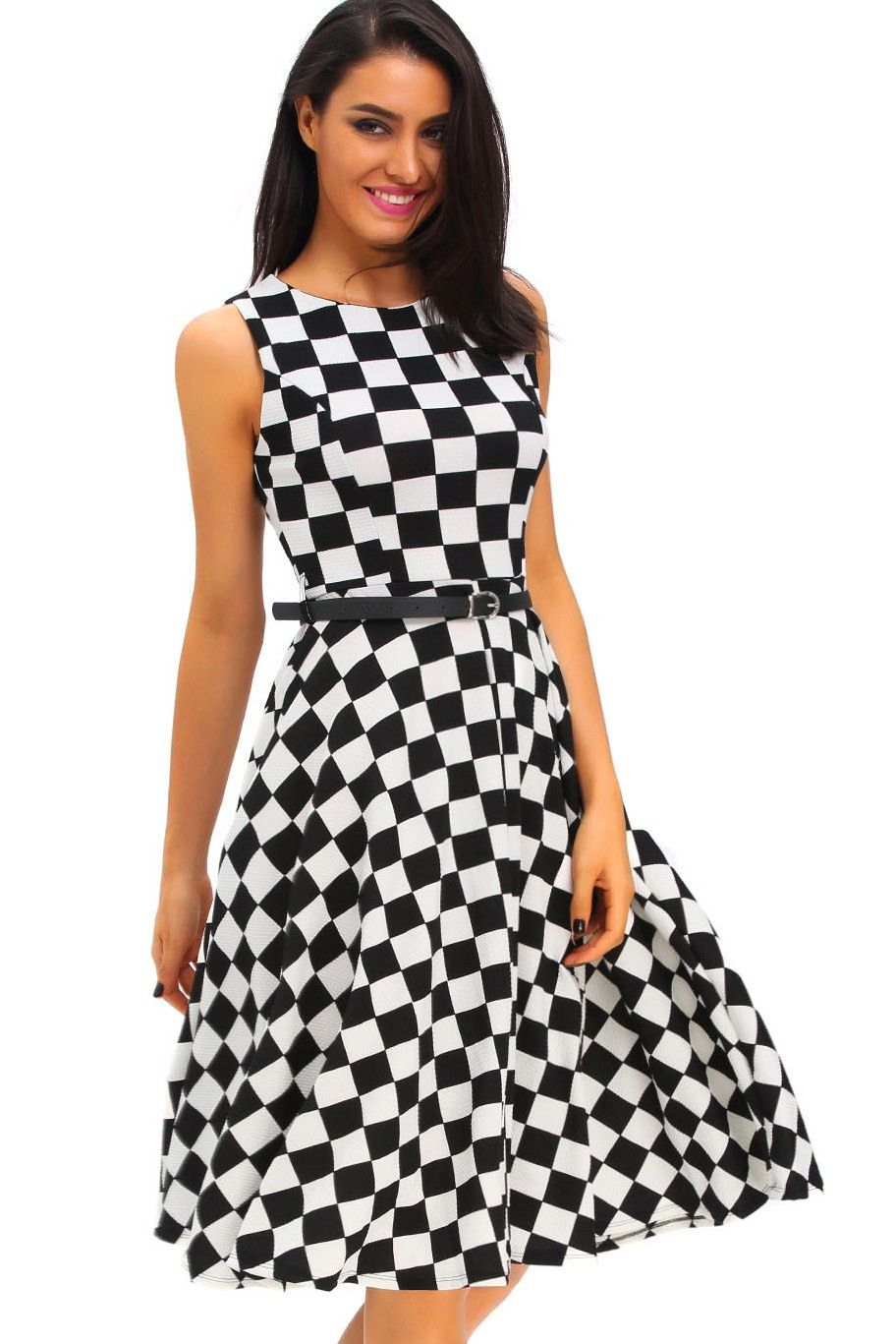 Vintage Année 50 dedans robe retro vintage annee 50 blanc noir tartan swing elegante