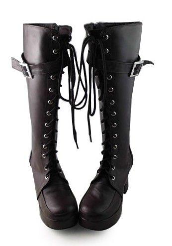 Brown high belt strap 1 1/10 heel-height matte Lolita shoes