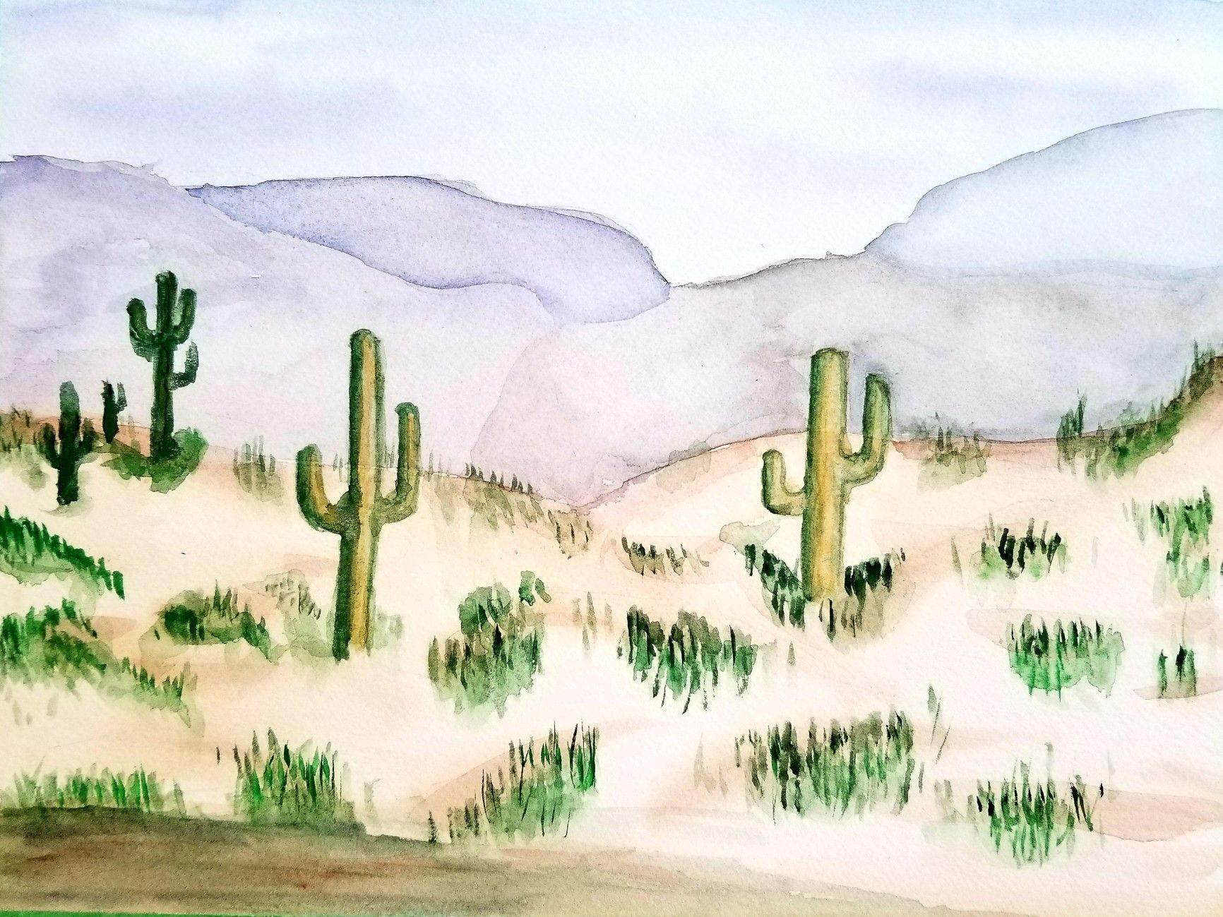 Everydaywatercolor Day 22 Atmospheric Perspective Paint A Desert Landscape Watercolor Everyday