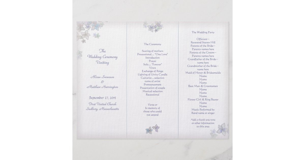 Lavender Art Tri-Fold Wedding Program Template Campbell wedding