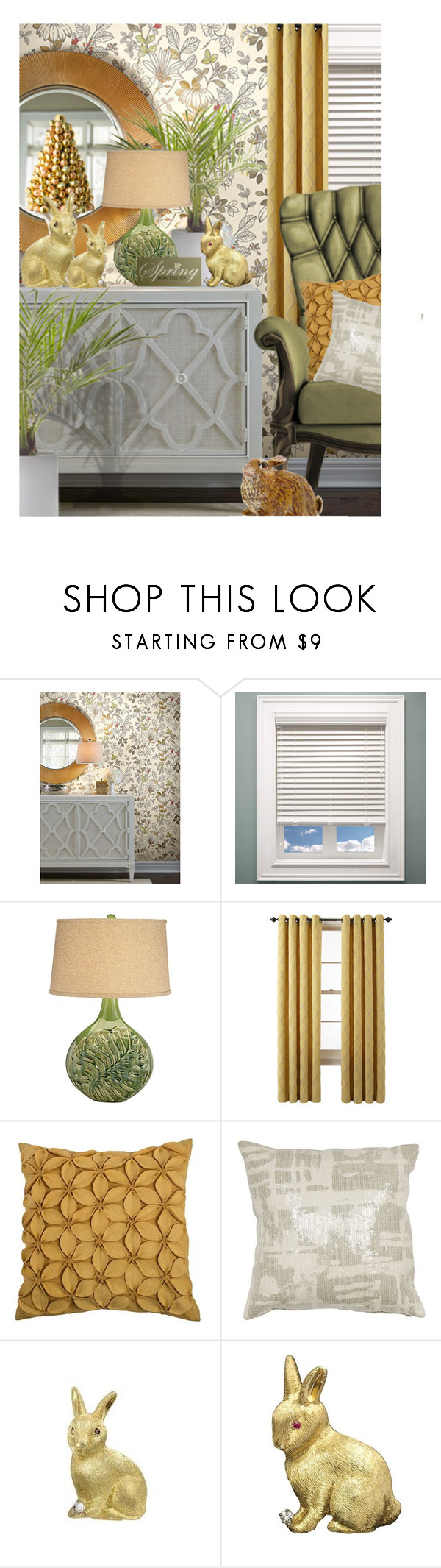 """""""Spring Is In The Air"""" by queenrachietemplateaddict ❤ liked on Polyvore featuring interior, interiors, interior design, home, home decor, interior decorating, York Wallcoverings, Chicology, Universal Lighting and Decor and Martha Stewart"""