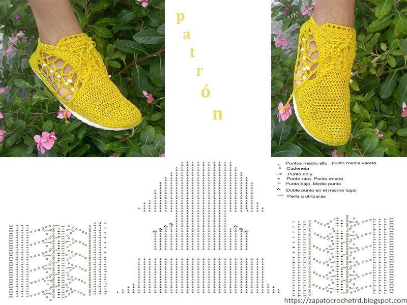 patrón tenis tejido a crochet karina vals | Zapatos tejidos ...