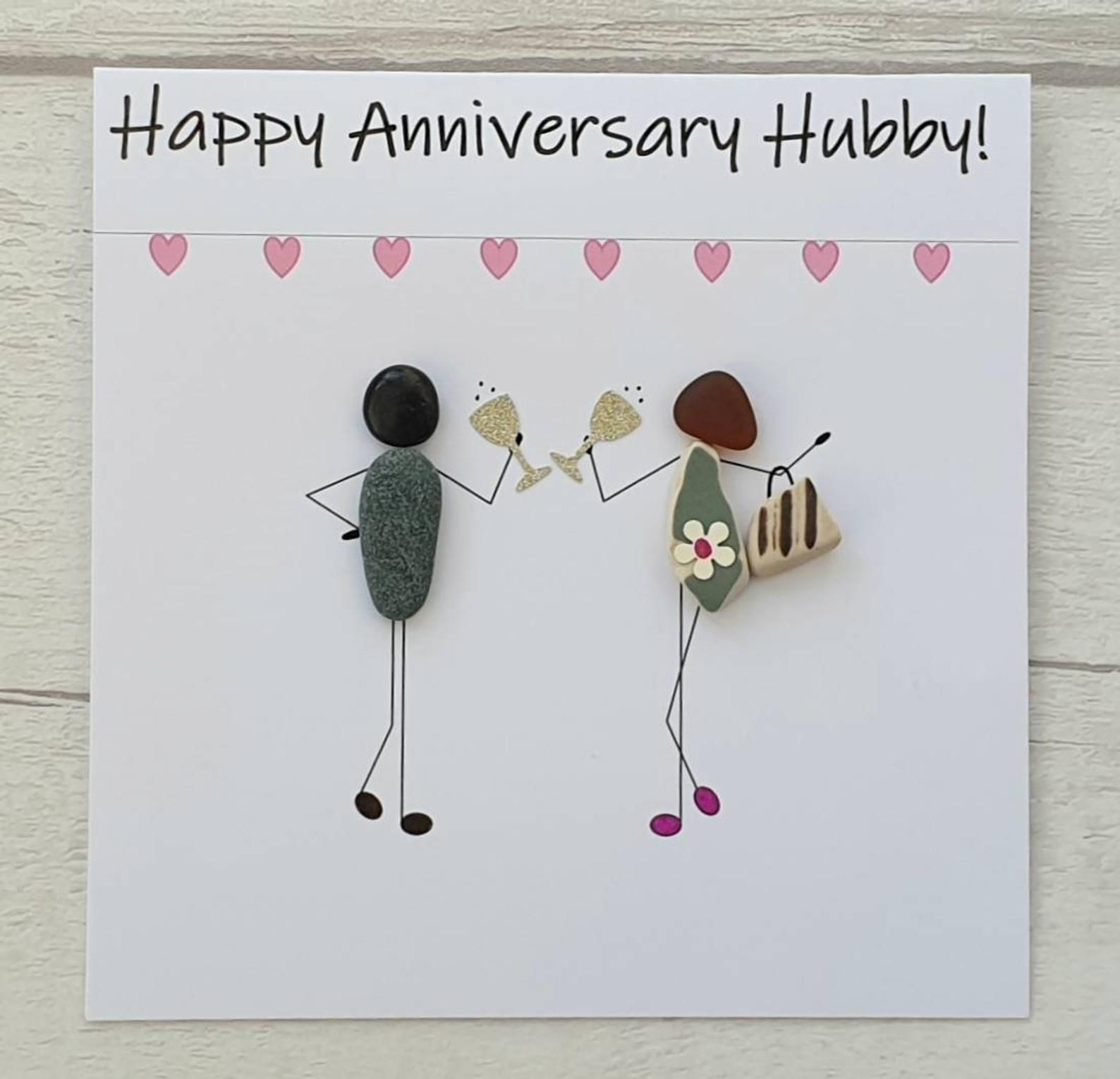 Unique Anniversary Card For Hubby Handmade Pebble Card For Etsy Anniversary Cards Handmade Cards Handmade Happy Anniversary Hubby