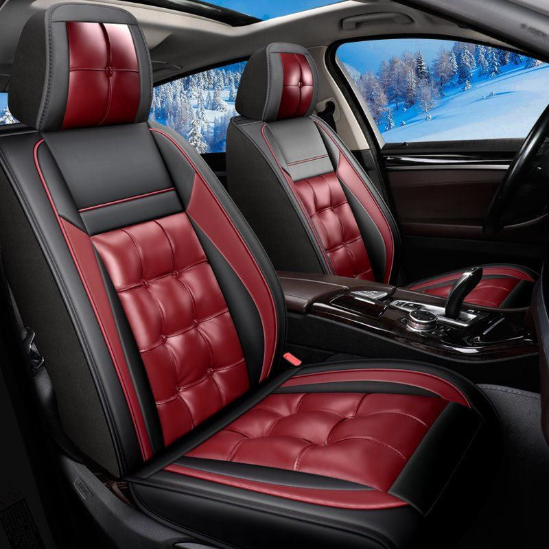 Full Coverage Soft Wear Resistant Durable Skin Friendly Man Made Pu Leather Airbag Compatible 5 Seater Universal Fit Seat Covers In 2020 Seat Covers Leather Pu Leather