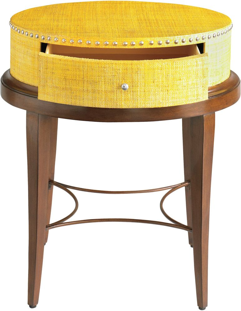 HGTV Home 6D14 H691 Accents Yellow Raffia Accent Table