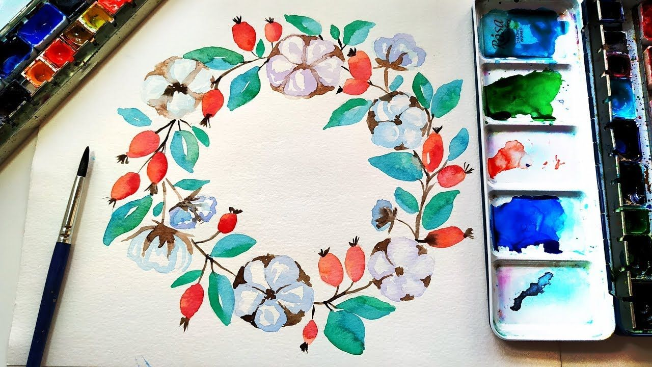 Watercolor Winter Floral Wreath Painting Diy Wall Art Ideas