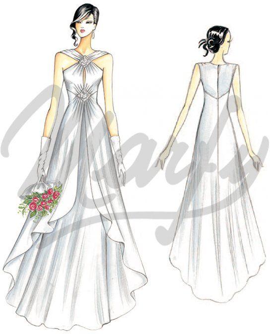 patrón vestido de novia S949 | FIGURIN | Vestidos, Vestido drapeado ...