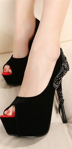 Fashion Side Flattery Bow Tie Embellished Stiletto High Heels Black Suede #Sandals