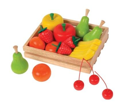 Our scrumptious wooden crate of fruit is perfect for open-ended play, and invites children to exercise their imagination.   It comes as second nature to them when playing with toys such as these.    When children play with healthy, beautiful looking fruits and vegetables, they eat healthy, beautiful looking fruits and vegetables!