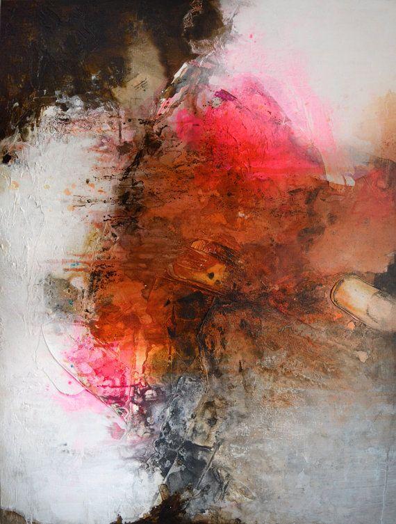 Original Art Abstrait Peinture Sur Tendu Toile Texturee Art