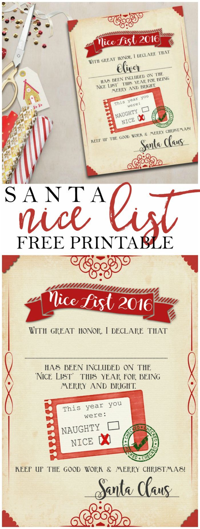 Free santas official nice list certificate printable http free santas official nice list certificate printable httpthedailygoodiebag201411free santas official nice list certificate pinterest nice yadclub Choice Image