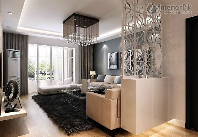 Modern living room decoration effect chart greatly entire for Living room partition designs