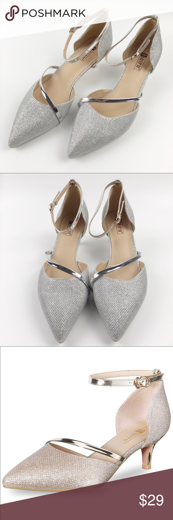 Idifu Silver Shine Dress Party Shoes Ankle Strap Idifu Silver Sparkle And Shine Dress Party Shoes With Kitten Heel An Party Shoes Shoes Women Heels Ankle Strap