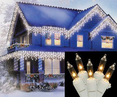 Set Of 100 Clear Icicle Christmas Lights White Wire By Vco 16 99 Set Of 100 Icicle Christmas Lights Icicle Christmas Lights Icicle Lights Christmas Lights