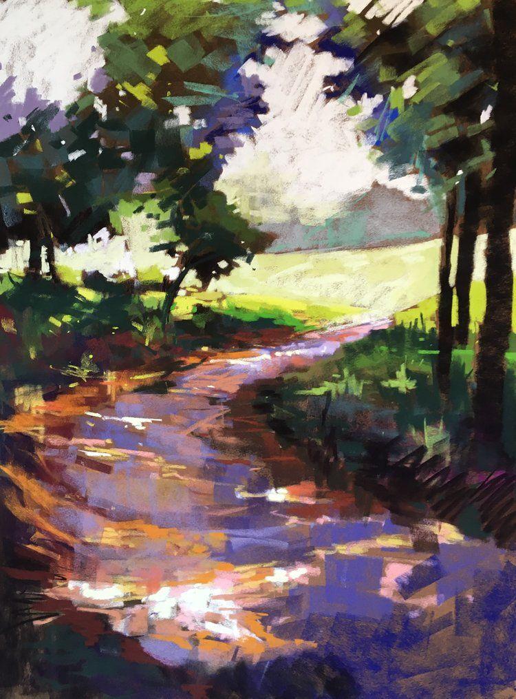 23x31 Folly Quarter Sold Landscape Art Folk Art Painting Artwork