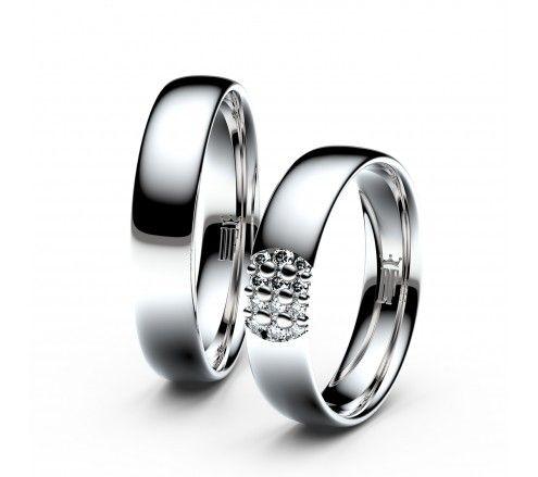 Snubni Prsteny Z Bileho Zlata S Brilianty Par 3021 Wedding