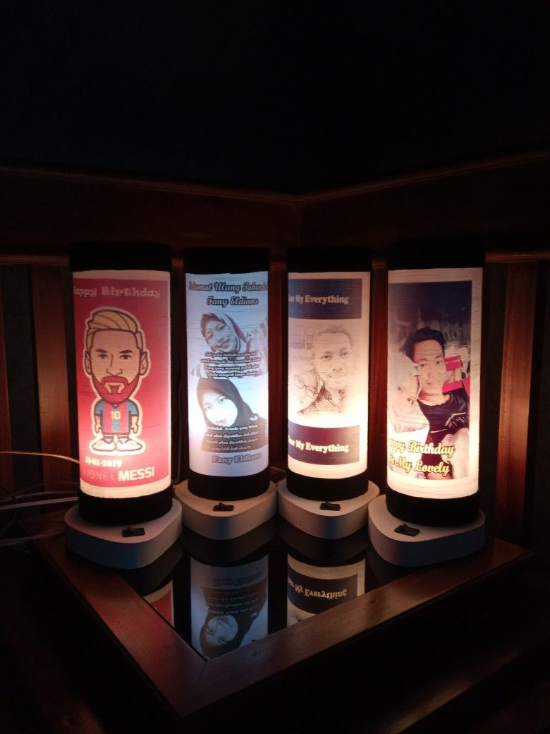 Lampu tidur berbahan benang jahit dengan custom gambar atau