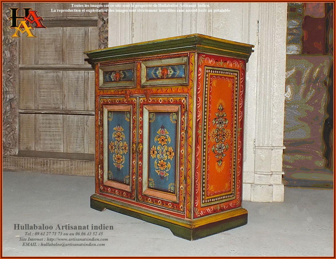 Buffet Indien Peint Jn9 Cav45 Peindre Des Meubles Anciens Mobilier De Salon Deco Asie