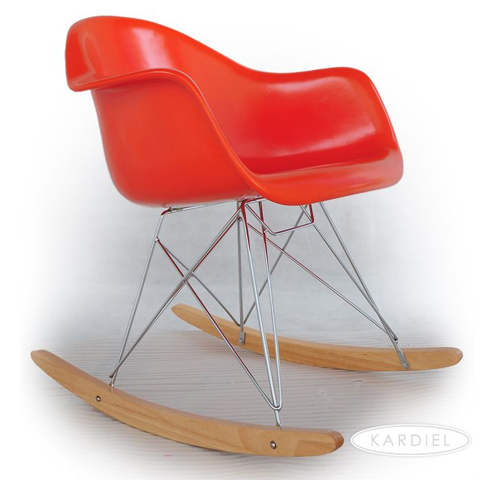 Eames Style Molded Fiberglass Rocker RAR, Red-Orange/Natural Wood |