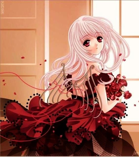 White Haired Anime Angel In Red Dress Anime Love Anime Angel