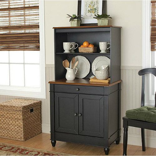 Better Homes & Gardens Storage Cabinet with Hutch, Black/Oak ...