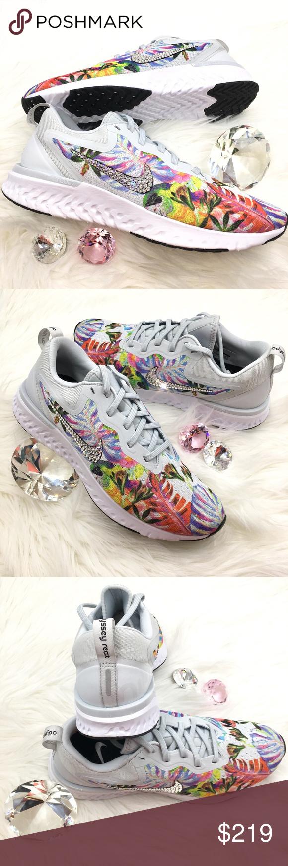 cf8d670d7863 Swarovski Nike Odyssey React Floral Bling Shoes GORGEOUS!! Brand New Nike  Odyssey React Women s