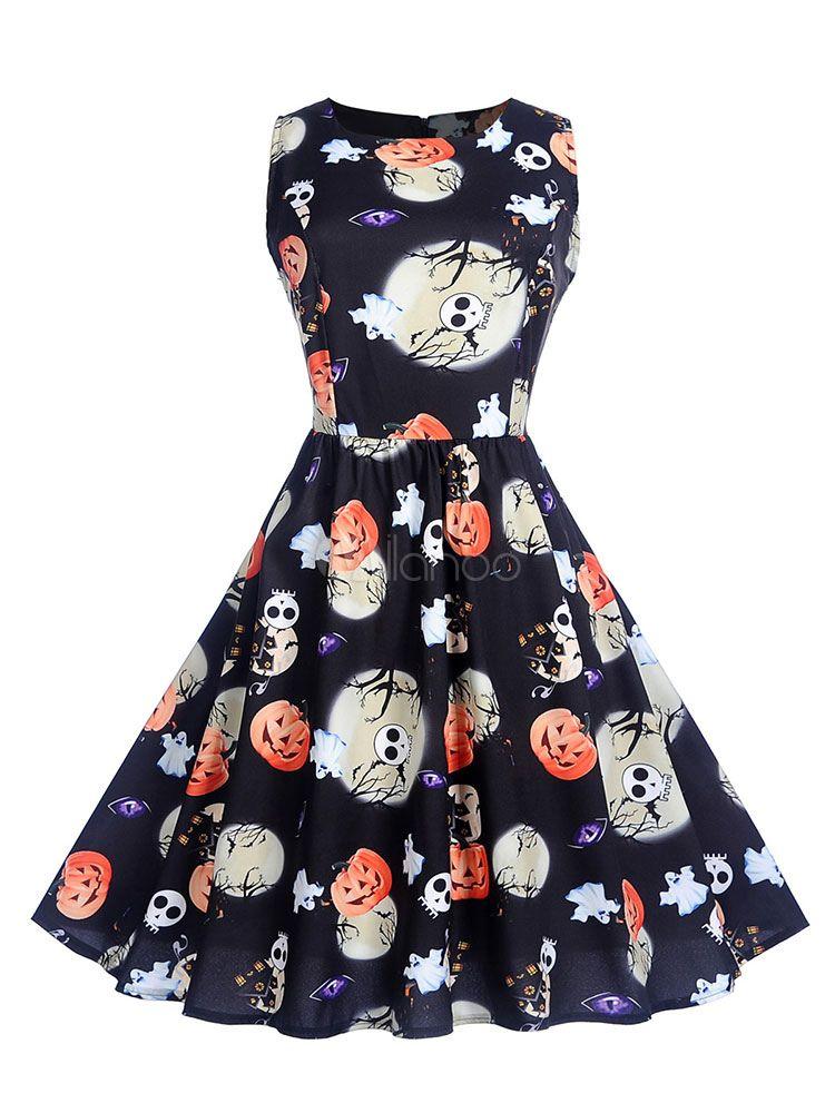 Halloween Vintage Dress 1950s Printed Sleeveless Swing Dress Sponsored Dress Ad Women Dresses Classy Spring Dresses Women Womens Vintage Dresses