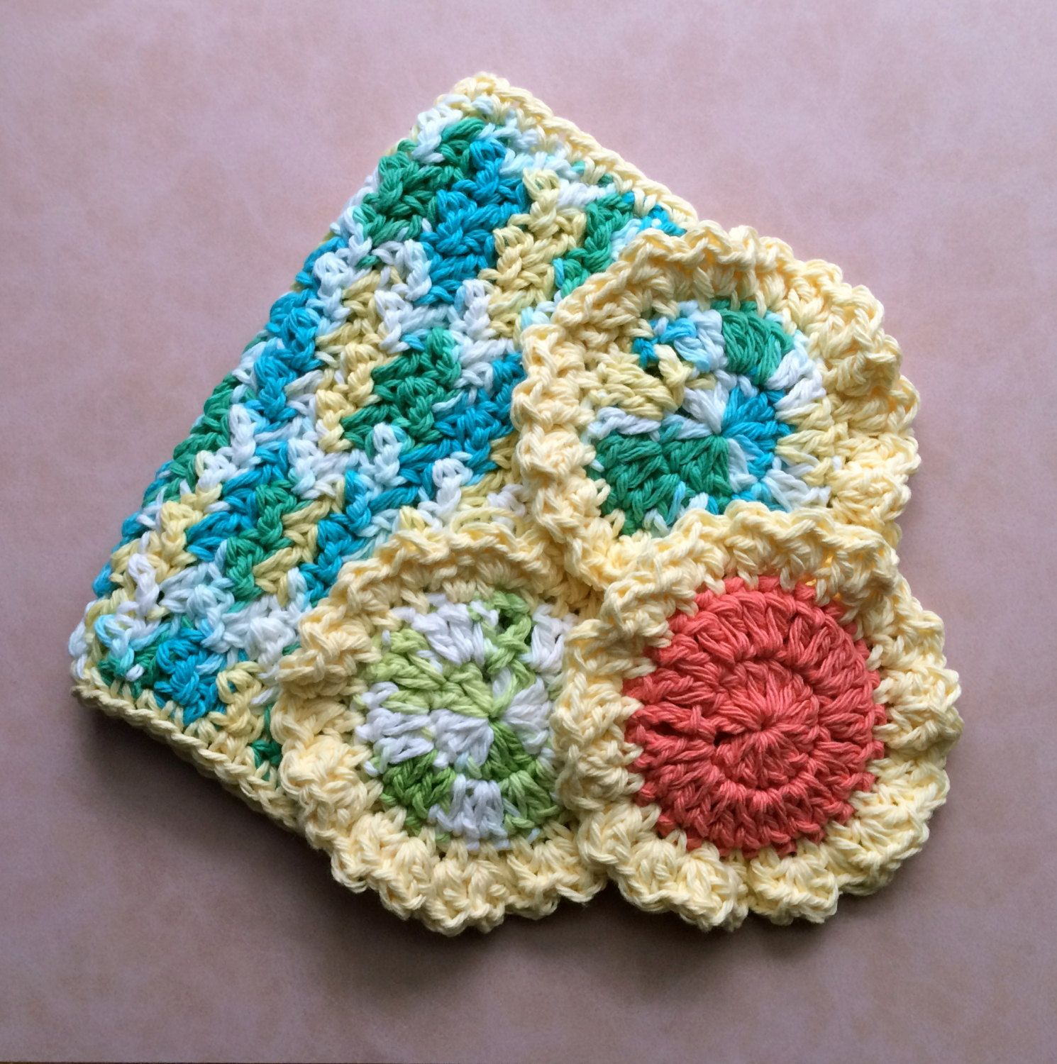 Crochet Sponge, Double Thick Kitchen Scrubbie, Flower Dish Scrubbie ...