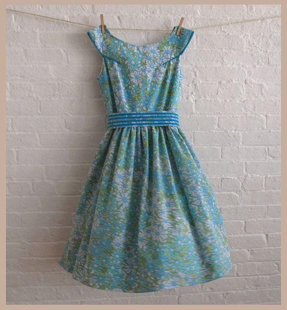 blue forest tea dress vintage cotton