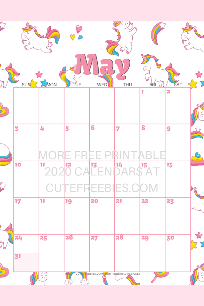 Cute Unicorn 2020 2021 Calendar Free Printable Cute Freebies For You Kids Calendar Calendar Printables Free Printable Monthly Planner