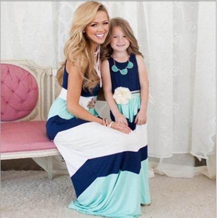837153d3bb99 2016 Summer New Girl Dress Family Matching Outfits Mum And Kids Holiday  Dress Sleeveless Beach Sundress