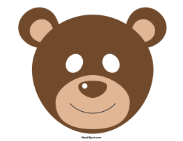 bear mask template there is also a coloring page version of the