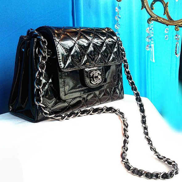 Chanel Flap Bag Rm 7990 Black Patent Wxsilver Hardware Condition Good With Card L23 H 13 W8 5cm Redeem It F Chanel Flap Bag Chanel Dubai Chanel Collection