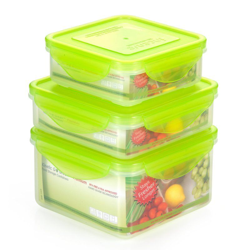 Kinetic Go Green Fresh 6 Piece Sqare Food Storage Container Set