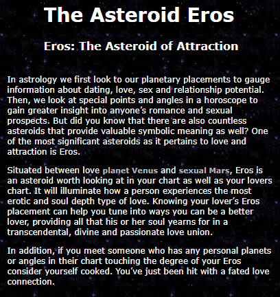The Asteroid Eros Eros: The Asteroid of Attraction by Sexual