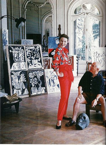 claire mccardell and pablo picasso. happy birthday to mr. picasso! #art #red #portrait #portraiture #pablopicasso #skull #lifeofanartist #studiolife