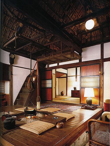 Interior Of Japanese Country House With Central Fire Pit And Thatched Ceiling Lo Res Traditional Japanese House Japanese Home Design Japanese Living Rooms