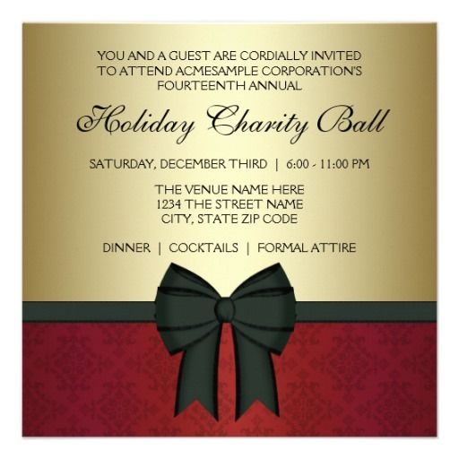 Red Damask Gold Black Tie Corporate Party Invitation Zazzle Com Corporate Party Invitation Corporate Christmas Party Invitations Holiday Party Invite Wording