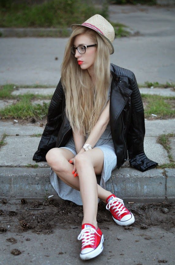 Black dress red shoes sneakers