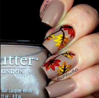 Diy Fall Leaves 2015 Thanksgiving Nails Polish , Simple Leaf