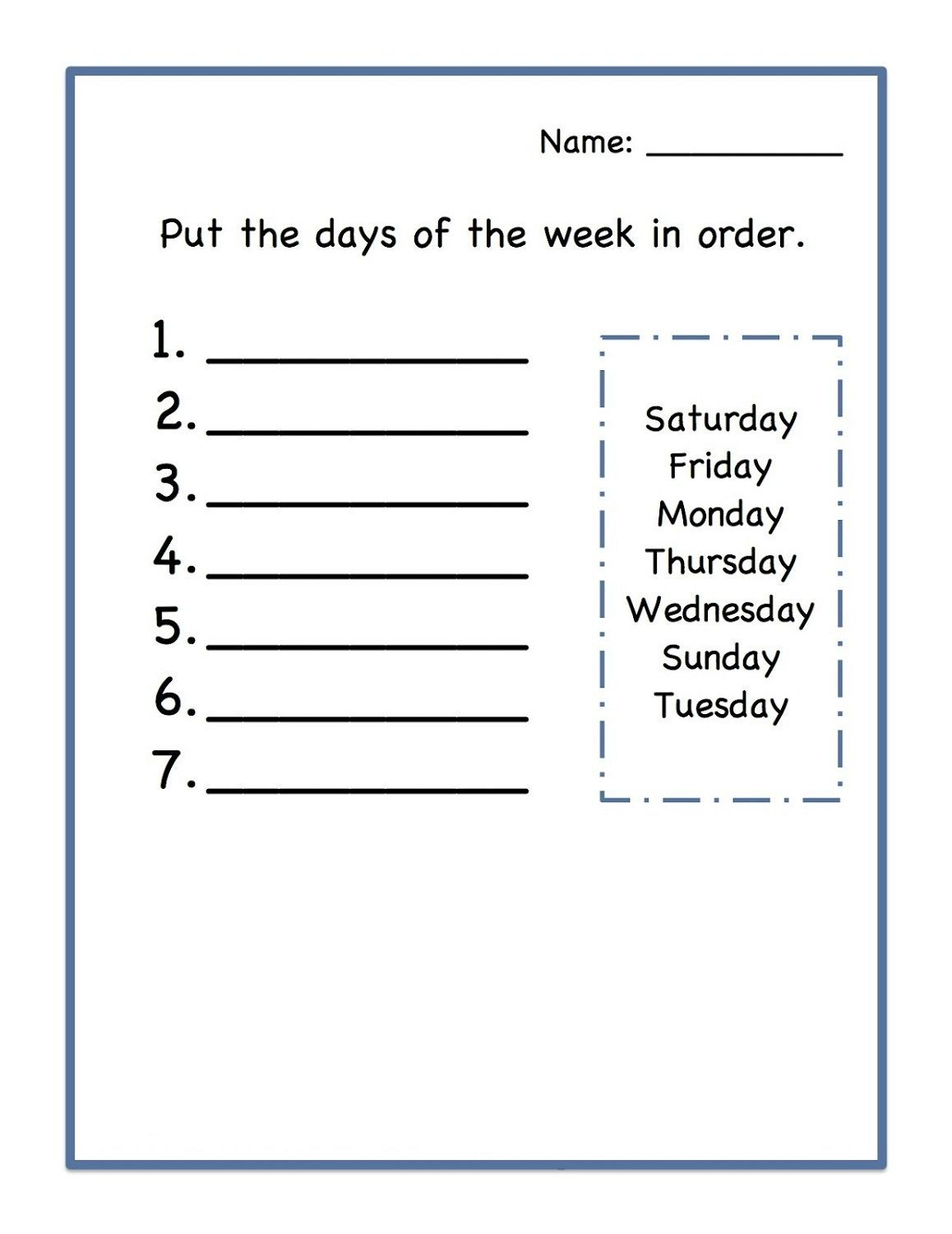 Days Of The Week Worksheets Kids Learning Activity