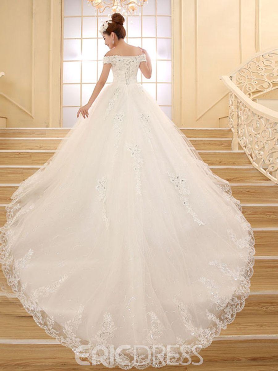 Simple off the shoulder wedding dresses  Classy Off the Shoulder Appliques Cathedral Wedding Dress  live