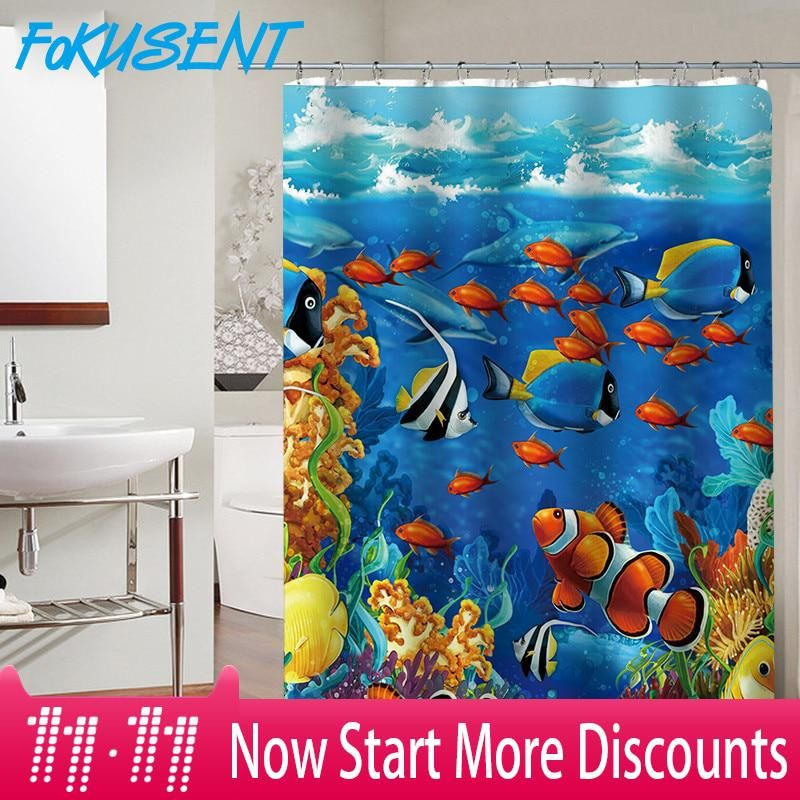 Fokusent New Design Colorful Tropical Fish Reefs Polyester Fabric