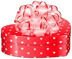 Valentines Day Heart Gift Box With Bow PNG Clipart Picture