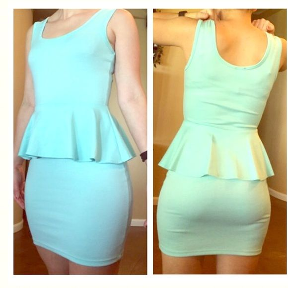 """SALE!! Mint slim fitting dress- Women's small Women's small slim fitting dress with flowy middle piece around the front and backside. Length from arm pit to the bottom of the dress is 26 inches. I'm 5'5"""" and it goes down to 4"""" above my knees. Worn once as a graduation dress, no flaws. 78% polyester, 18% rayon, 4% spandex. Ultra Flirt Dresses Mini"""
