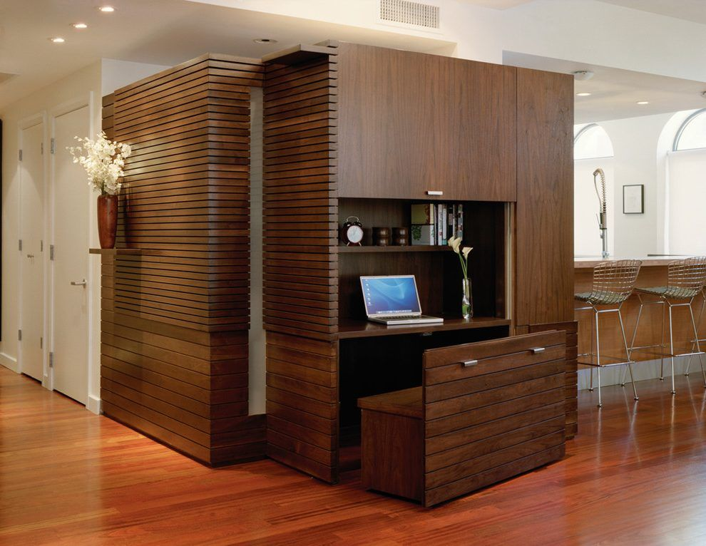Hidden Computer Screen Home Office Contemporary With