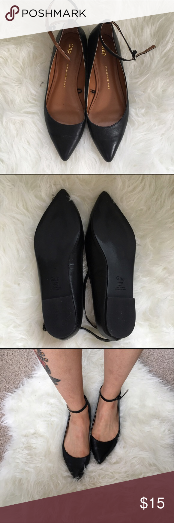 Gap leather pointed mary jane flats worn once real leather upper
