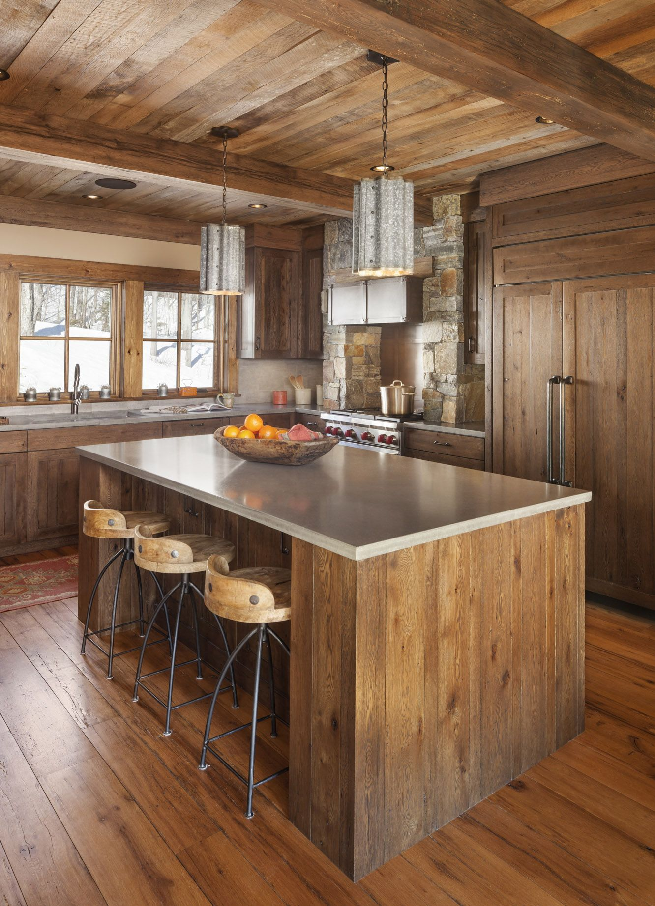 Reclaimed White Oak Was Used For The Flooring And Paneling Material Wire Brushed Ceiling
