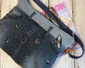 Photo of Shoulder bag in jeans jean messenger bag shoulder bag recycled denim bo …