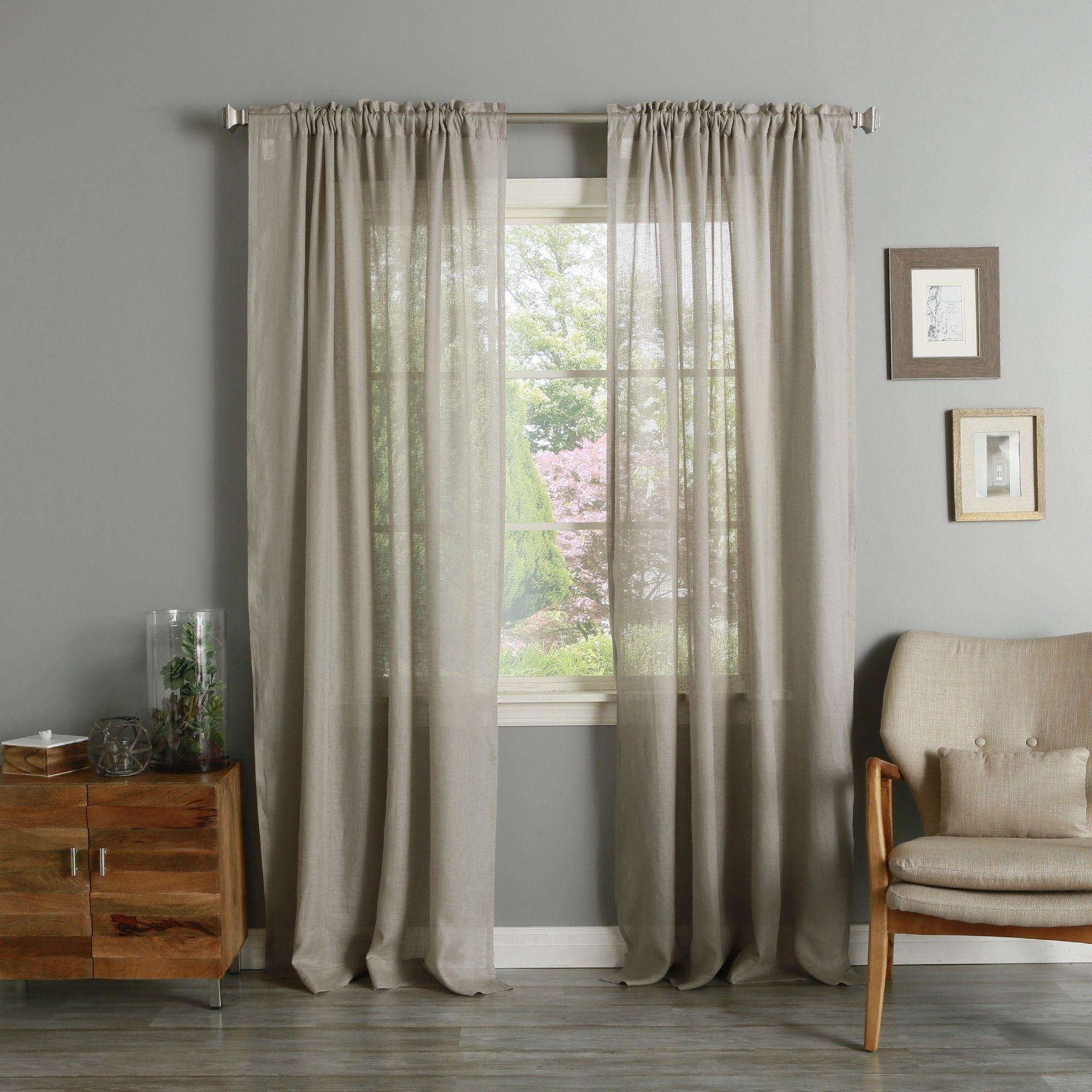 "Dark Natural Linen Rod Pocket Curtains 50""W X 84""L"